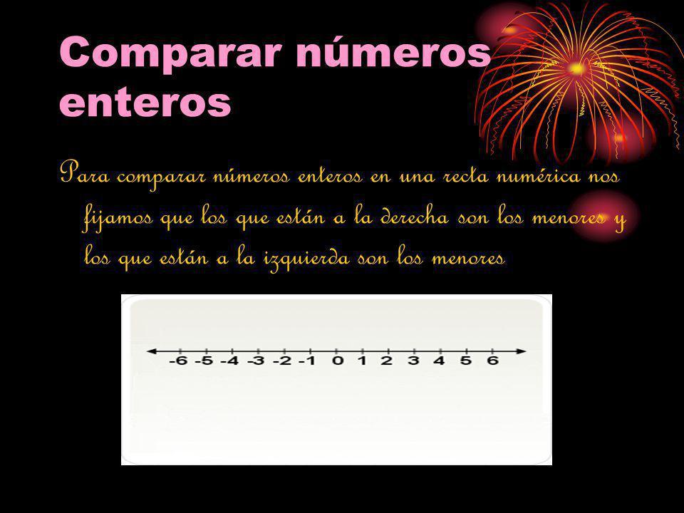 Comparar números enteros Para comparar números enteros en una recta numérica nos fijamos que los que están a la derecha son los menores y los que está