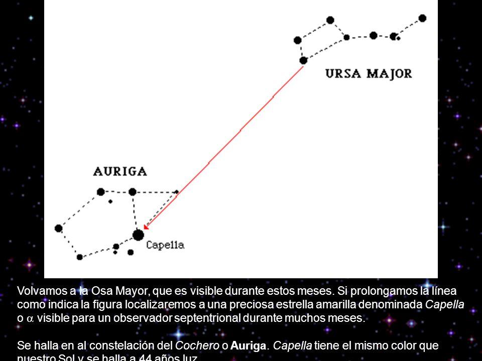 Volvamos a la Osa Mayor, que es visible durante estos meses. Si prolongamos la línea como indica la figura localizaremos a una preciosa estrella amari