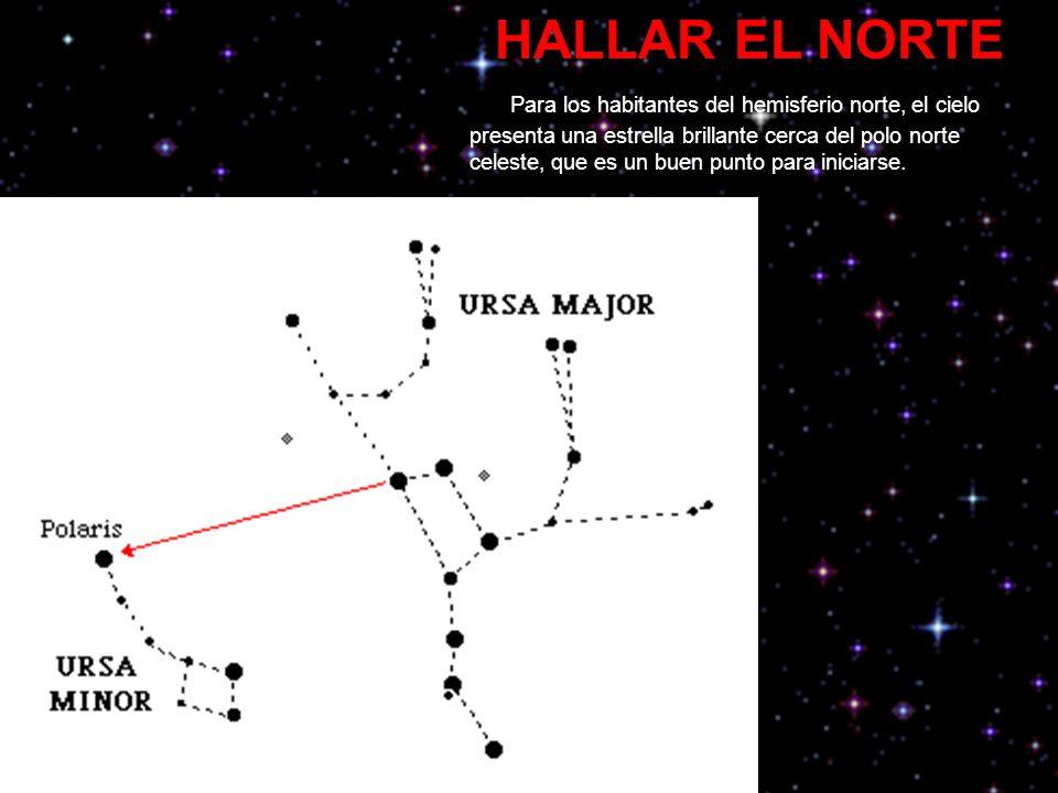 HALLAR EL NORTE Para los habitantes del hemisferio norte, el cielo presenta una estrella brillante cerca del polo norte celeste, que es un buen punto