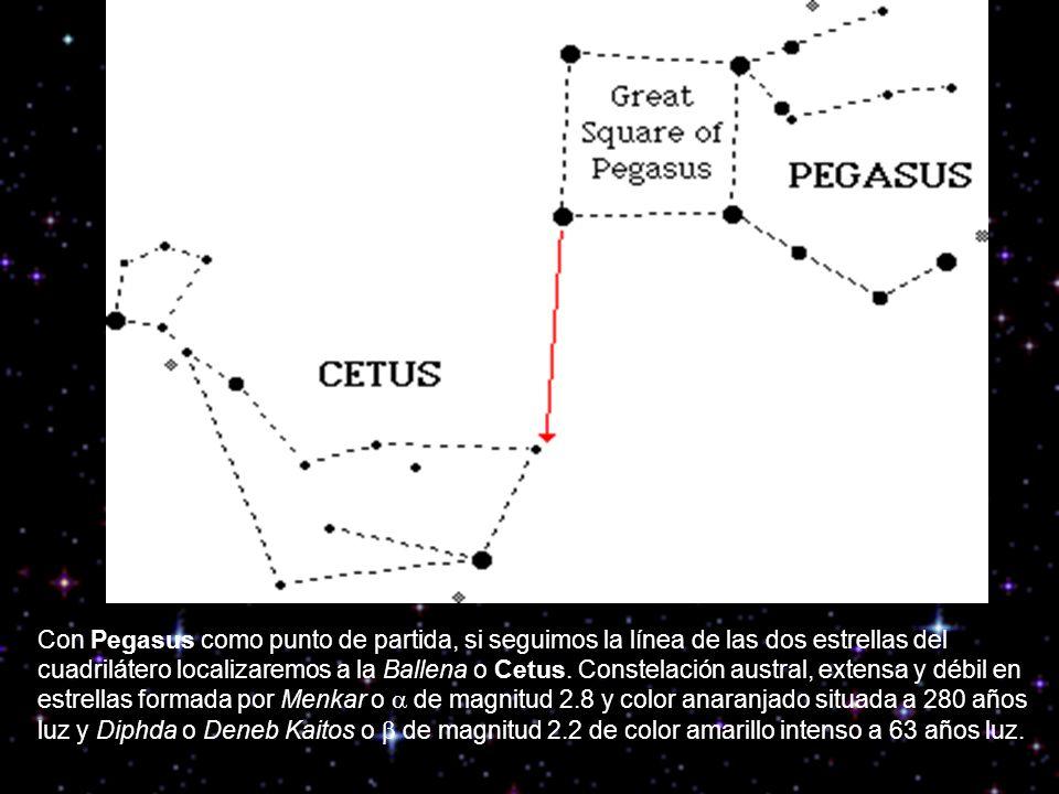 Con Pegasus como punto de partida, si seguimos la línea de las dos estrellas del cuadrilátero localizaremos a la Ballena o Cetus. Constelación austral