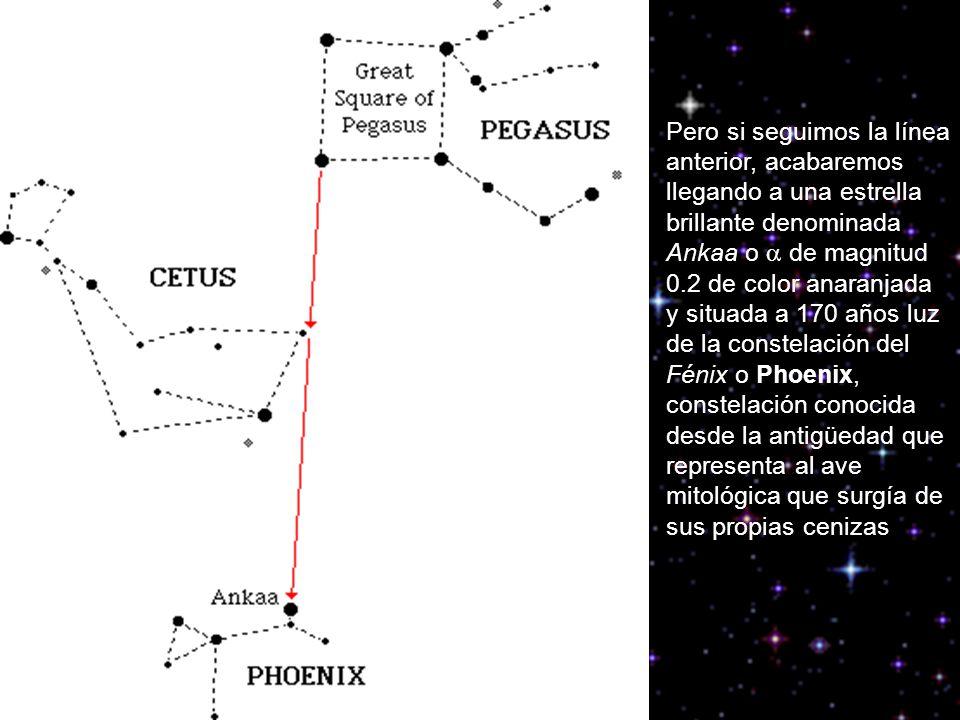 Pero si seguimos la línea anterior, acabaremos llegando a una estrella brillante denominada Ankaa o de magnitud 0.2 de color anaranjada y situada a 17
