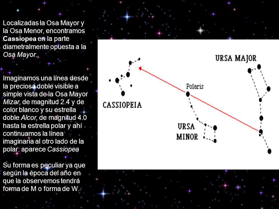 Localizadas la Osa Mayor y la Osa Menor, encontramos Cassiopea en la parte diametralmente opuesta a la Osa Mayor. Imaginamos una línea desde la precio