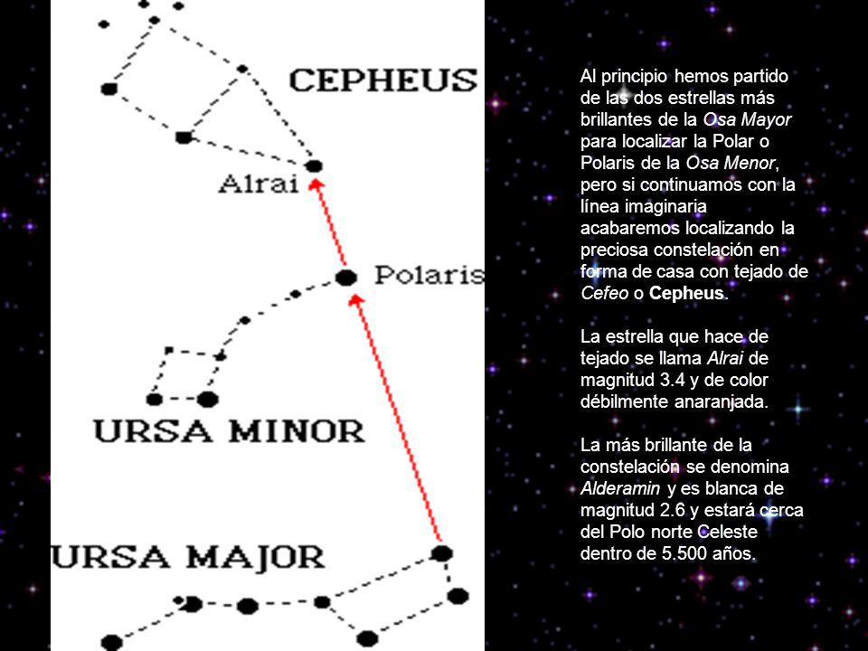 Al principio hemos partido de las dos estrellas más brillantes de la Osa Mayor para localizar la Polar o Polaris de la Osa Menor, pero si continuamos