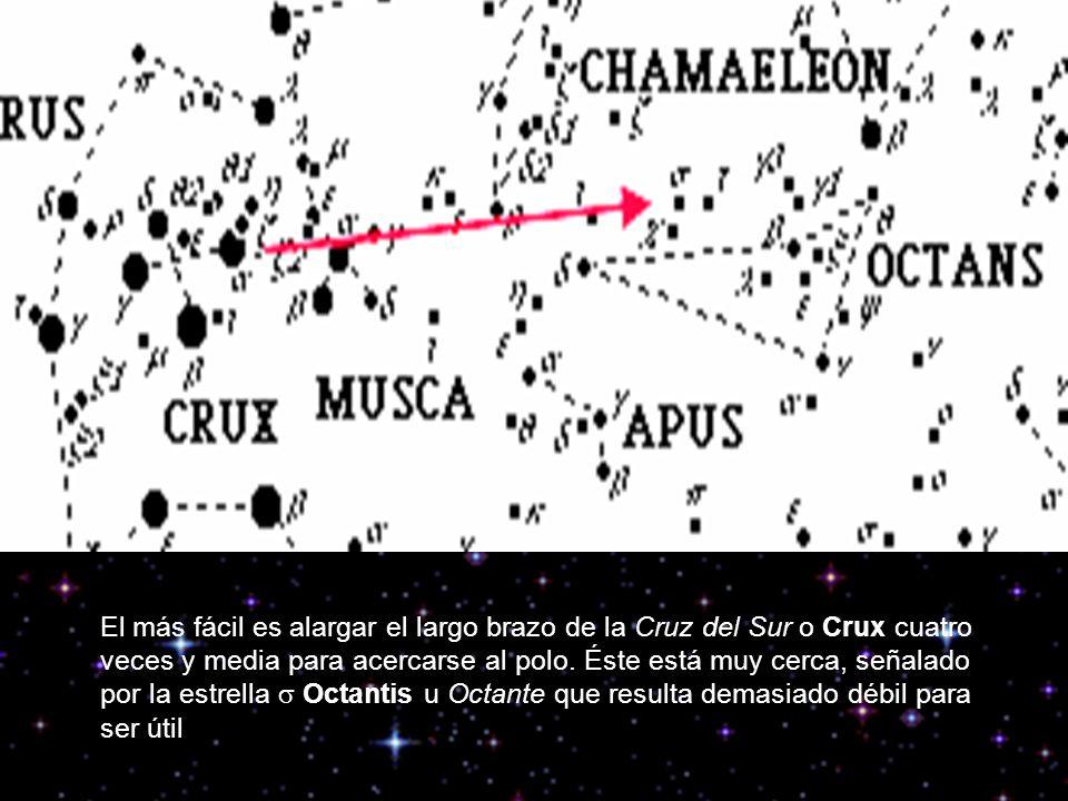 El más fácil es alargar el largo brazo de la Cruz del Sur o Crux cuatro veces y media para acercarse al polo. Éste está muy cerca, señalado por la est
