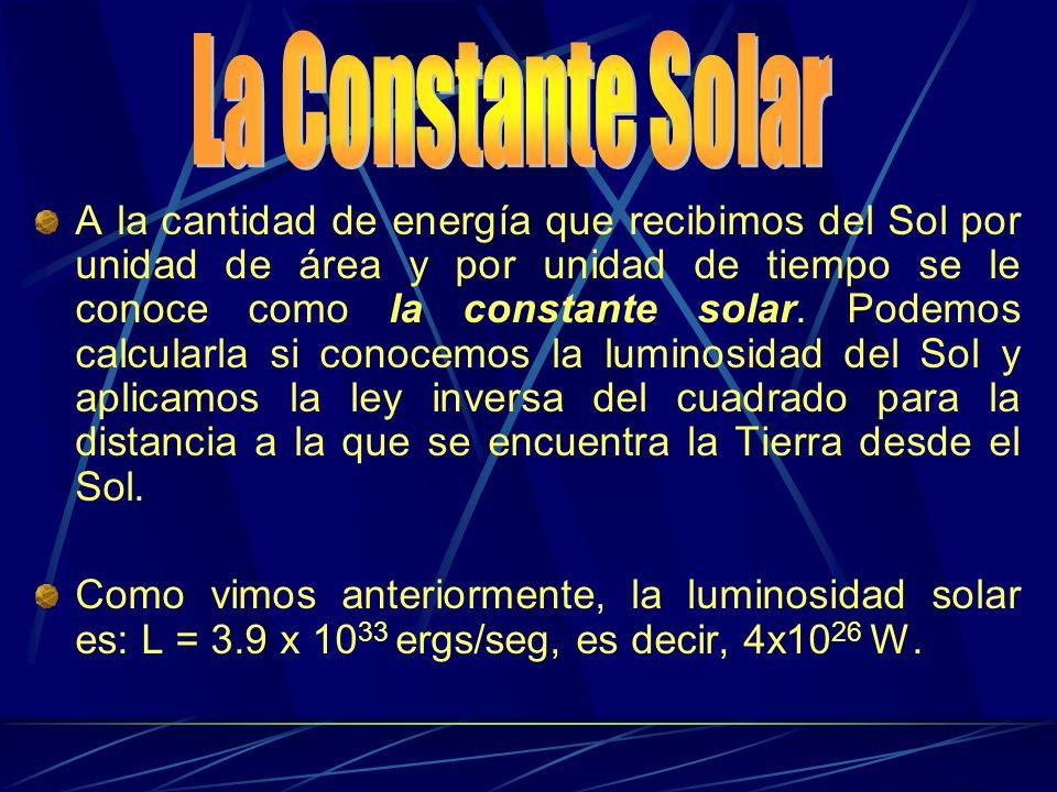 A la cantidad de energía que recibimos del Sol por unidad de área y por unidad de tiempo se le conoce como la constante solar. Podemos calcularla si c