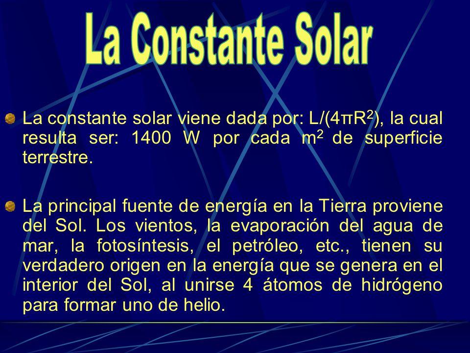 La constante solar viene dada por: L/(4πR 2 ), la cual resulta ser: 1400 W por cada m 2 de superficie terrestre. La principal fuente de energía en la