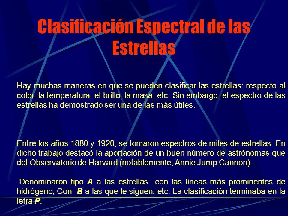 Clasificación Espectral de las Estrellas Hay muchas maneras en que se pueden clasificar las estrellas: respecto al color, la temperatura, el brillo, l