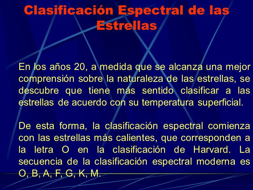 Clasificación Espectral de las Estrellas En los años 20, a medida que se alcanza una mejor comprensión sobre la naturaleza de las estrellas, se descub