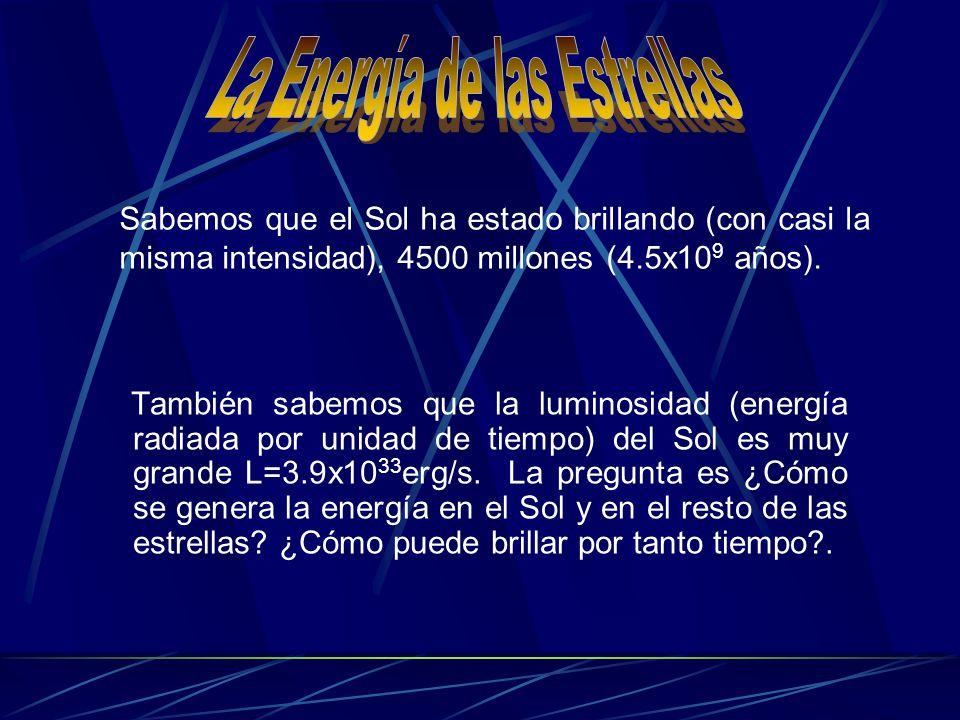 También sabemos que la luminosidad (energía radiada por unidad de tiempo) del Sol es muy grande L=3.9x10 33 erg/s. La pregunta es ¿Cómo se genera la e
