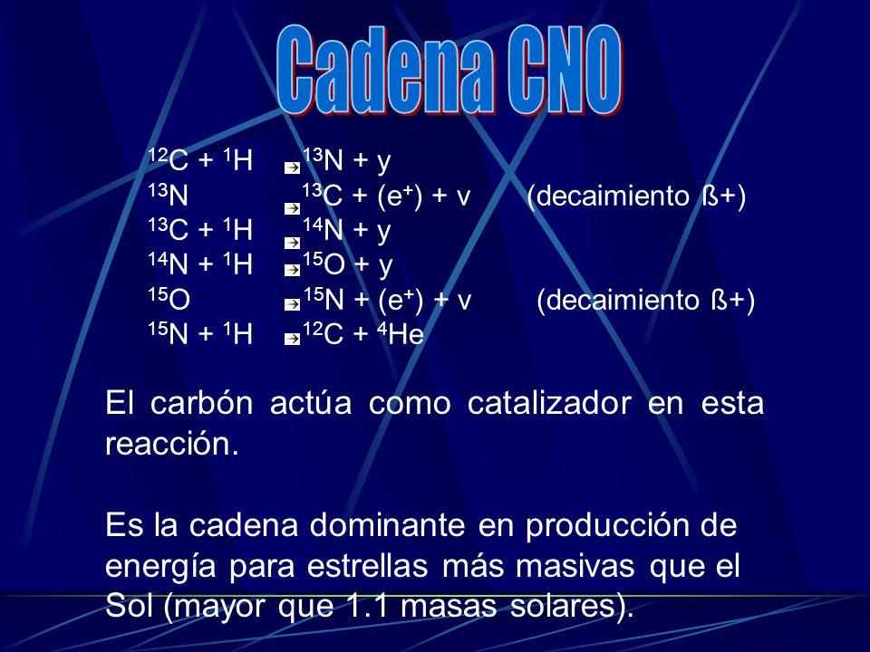 12 C + 1 H 13 N + y 13 N 13 C + (e + ) + v (decaimiento ß+) 13 C + 1 H 14 N + y 14 N + 1 H 15 O + y 15 O 15 N + (e + ) + v (decaimiento ß+) 15 N + 1 H
