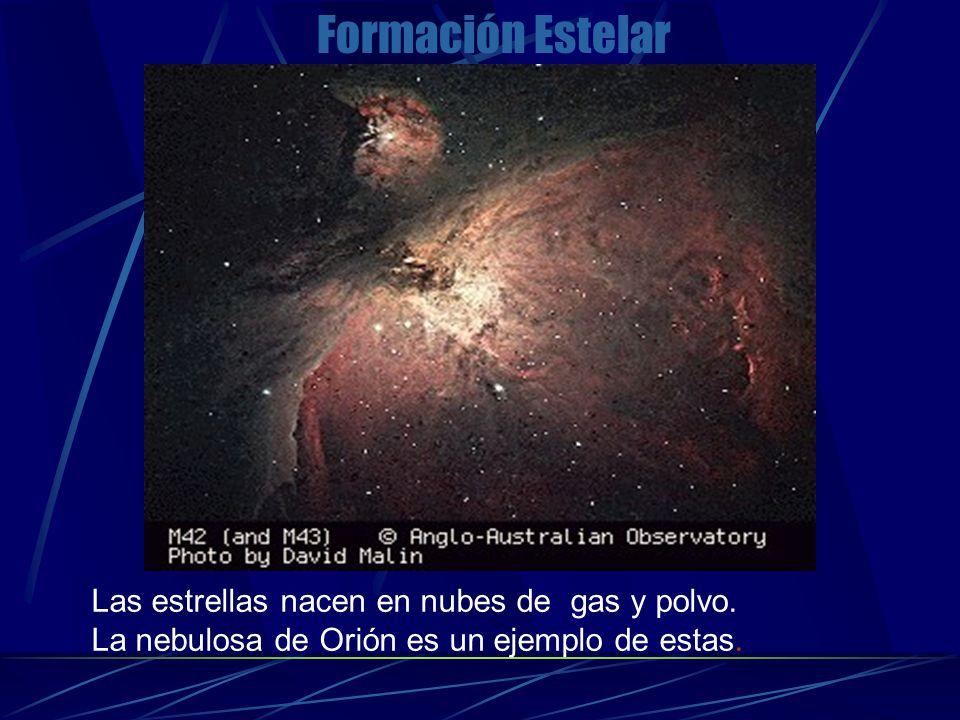 Formación Estelar Las estrellas nacen en nubes de gas y polvo. La nebulosa de Orión es un ejemplo de estas.