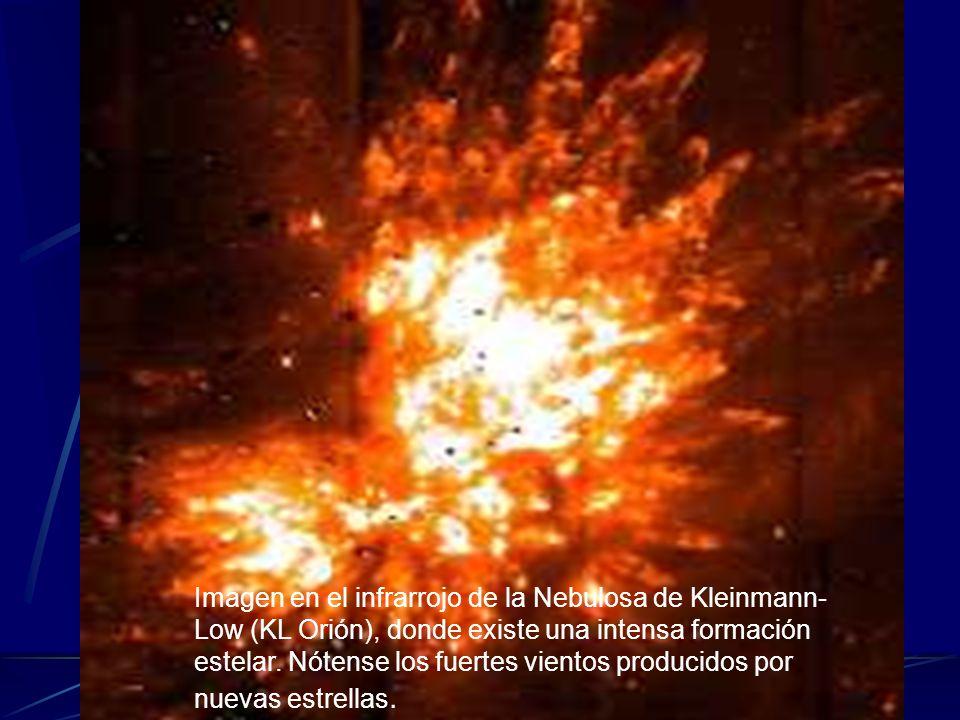 Imagen en el infrarrojo de la Nebulosa de Kleinmann- Low (KL Orión), donde existe una intensa formación estelar. Nótense los fuertes vientos producido