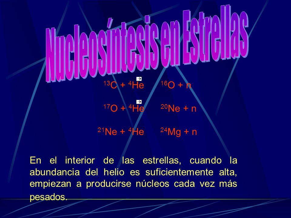 13 C + 4 He 16 O + n 17 O + 4 He 20 Ne + n 21 Ne + 4 He 24 Mg + n En el interior de las estrellas, cuando la abundancia del helio es suficientemente a