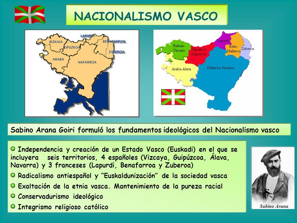 NACIONALISMO VASCO Sabino Arana Sabino Arana Goiri formuló los fundamentos ideológicos del Nacionalismo vasco Independencia y creación de un Estado Va