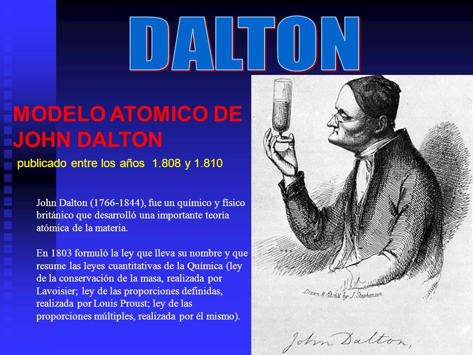 MODELO ATOMICO DE JOHN DALTON publicado entre los años 1.808 y 1.810 John Dalton (1766-1844), fue un químico y físico británico que desarrolló una imp