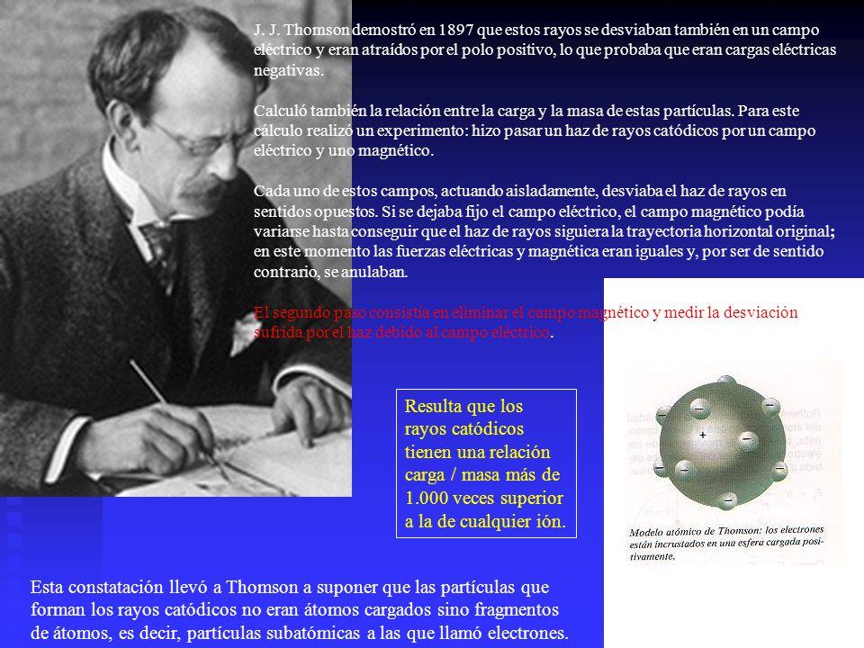 J. J. Thomson demostró en 1897 que estos rayos se desviaban también en un campo eléctrico y eran atraídos por el polo positivo, lo que probaba que era