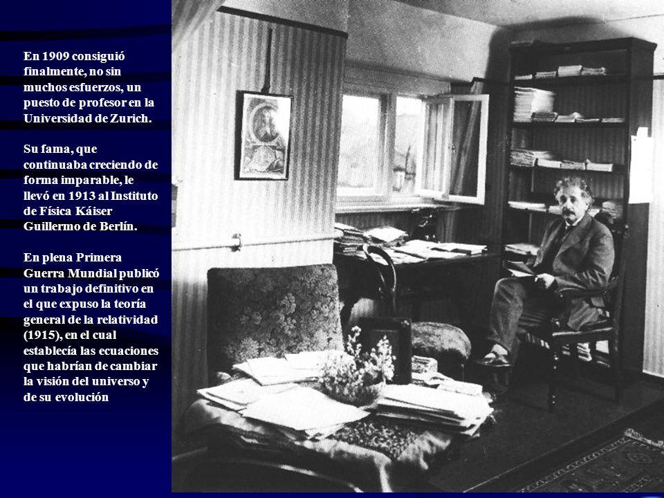 En 1909 consiguió finalmente, no sin muchos esfuerzos, un puesto de profesor en la Universidad de Zurich.