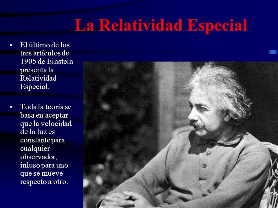 La Relatividad Especial El último de los tres artículos de 1905 de Einstein presenta la Relatividad Especial. Toda la teoría se basa en aceptar que la
