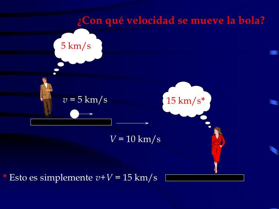 ¿Con qué velocidad se mueve la bola? V = 10 km/s 5 km/s 15 km/s * v = 5 km/s * Esto es simplemente v + V = 15 km/s