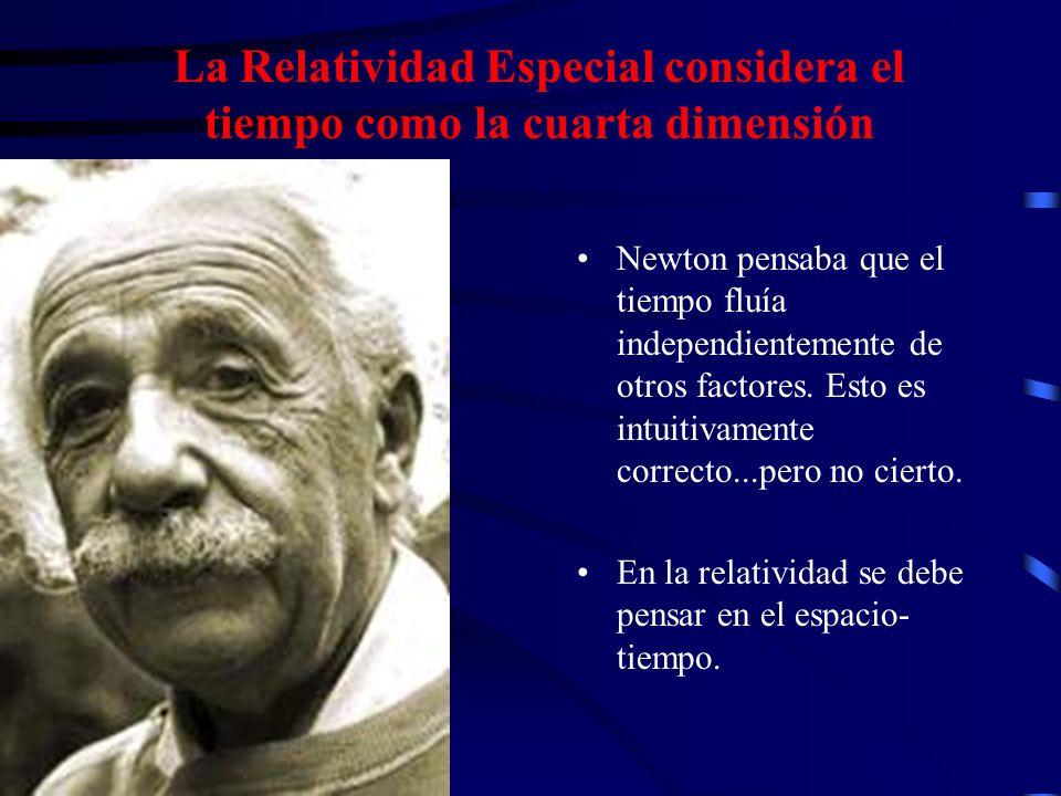 La Relatividad Especial considera el tiempo como la cuarta dimensión Newton pensaba que el tiempo fluía independientemente de otros factores. Esto es