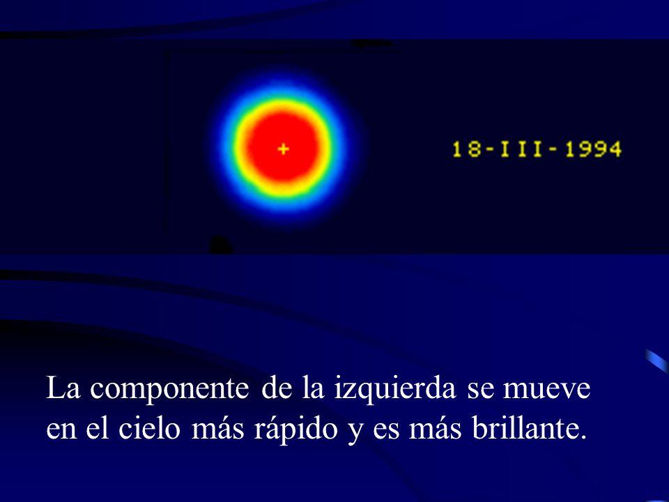 La componente de la izquierda se mueve en el cielo más rápido y es más brillante.