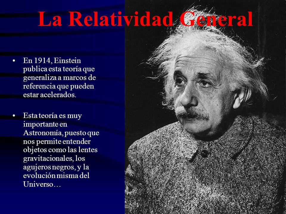 La Relatividad General En 1914, Einstein publica esta teoría que generaliza a marcos de referencia que pueden estar acelerados. Esta teoría es muy imp