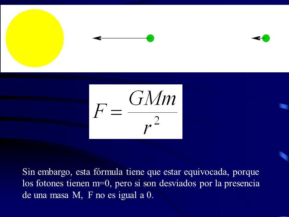 Sin embargo, esta fórmula tiene que estar equivocada, porque los fotones tienen m=0, pero si son desviados por la presencia de una masa M, F no es igual a 0.