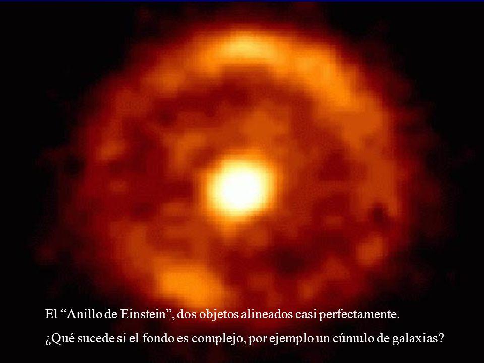 El Anillo de Einstein, dos objetos alineados casi perfectamente. ¿Qué sucede si el fondo es complejo, por ejemplo un cúmulo de galaxias?