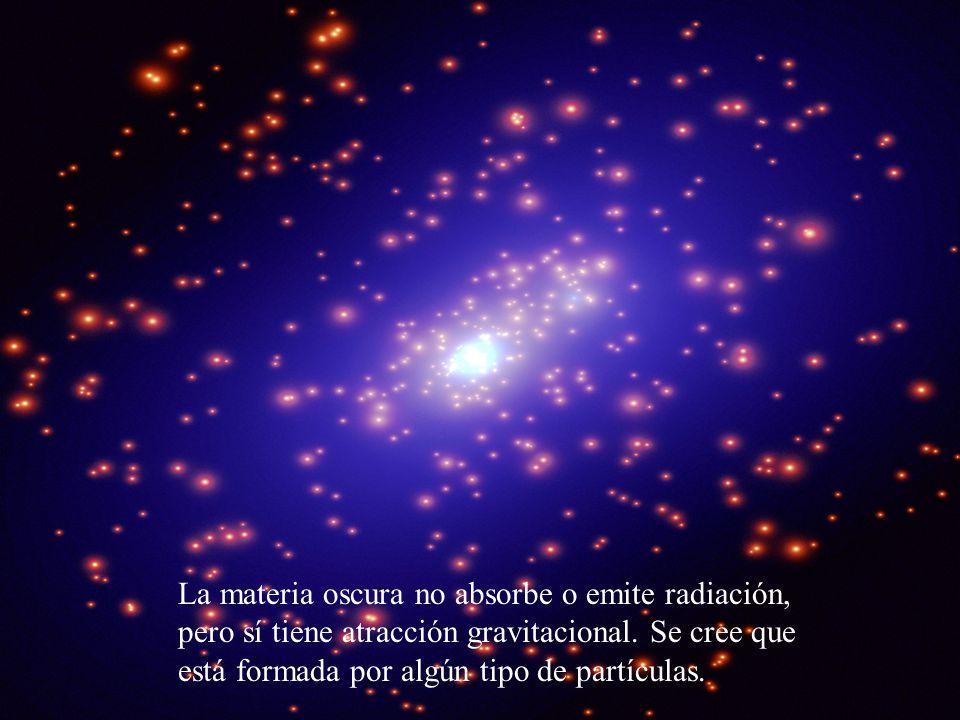 La materia oscura no absorbe o emite radiación, pero sí tiene atracción gravitacional.