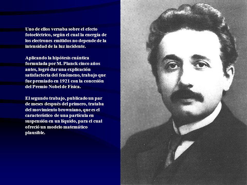 Uno de ellos versaba sobre el efecto fotoeléctrico, según el cual la energía de los electrones emitidos no depende de la intensidad de la luz incident