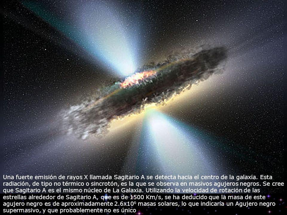 Una fuerte emisión de rayos X llamada Sagitario A se detecta hacia el centro de la galaxia. Esta radiación, de tipo no térmico o sincrotón, es la que