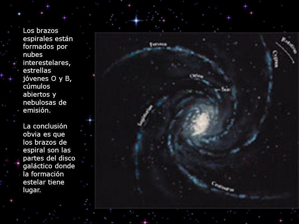 Los brazos espirales están formados por nubes interestelares, estrellas jóvenes O y B, cúmulos abiertos y nebulosas de emisión. La conclusión obvia es