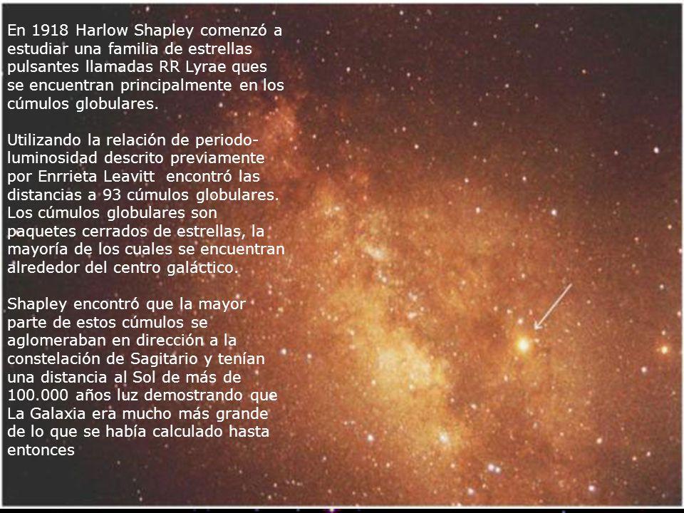 En 1918 Harlow Shapley comenzó a estudiar una familia de estrellas pulsantes llamadas RR Lyrae ques se encuentran principalmente en los cúmulos globul