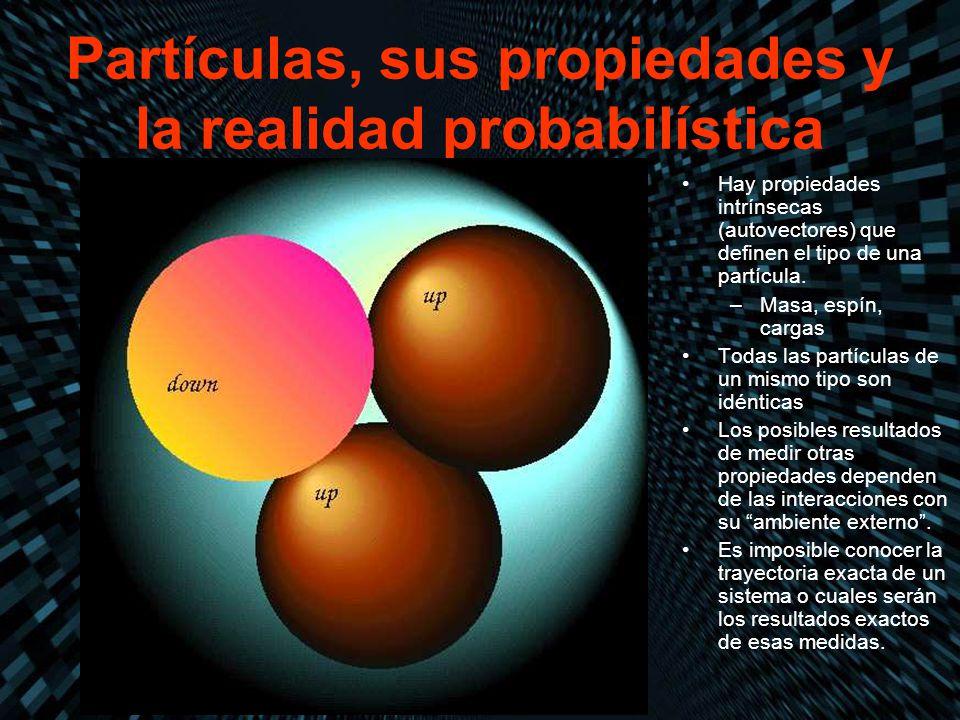 Partículas, sus propiedades y la realidad probabilística Hay propiedades intrínsecas (autovectores) que definen el tipo de una partícula. –Masa, espín