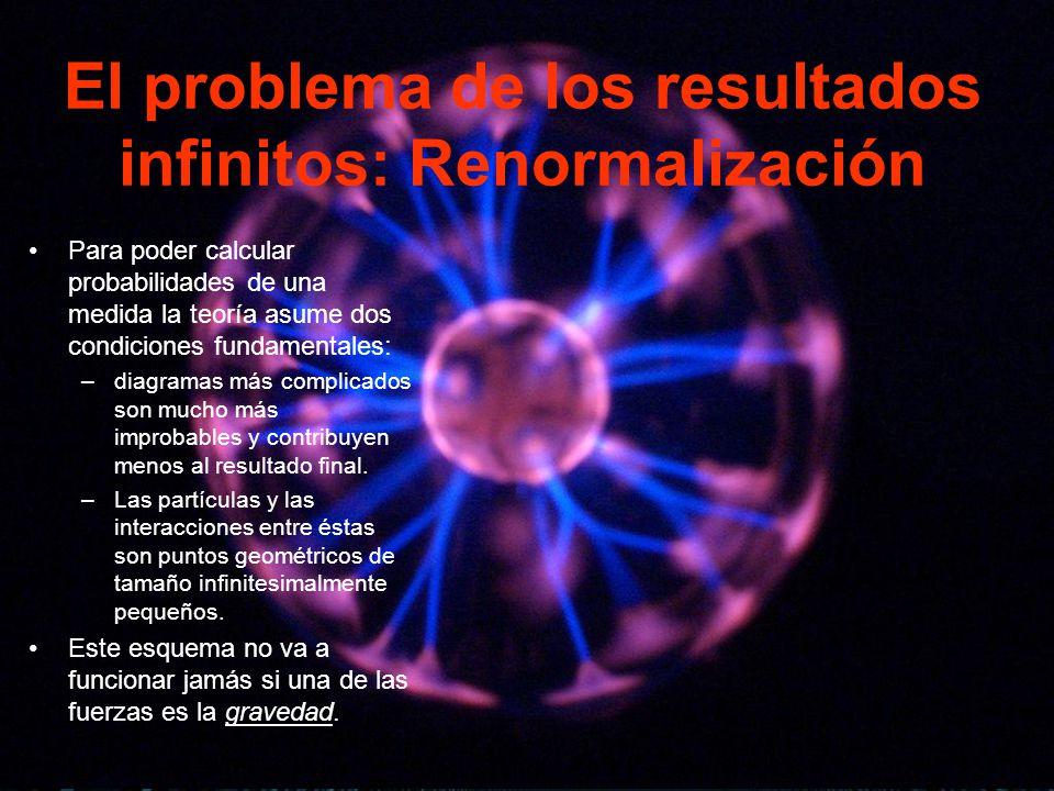 El problema de los resultados infinitos: Renormalización Para poder calcular probabilidades de una medida la teoría asume dos condiciones fundamentale