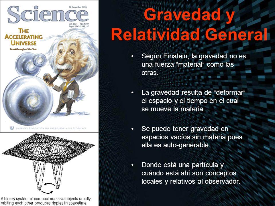 Gravedad y Relatividad General Según Einstein, la gravedad no es una fuerza material como las otras. La gravedad resulta de deformar el espacio y el t