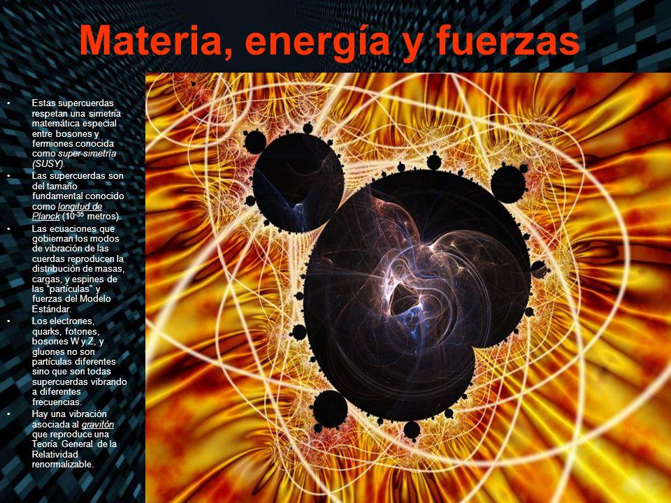 Materia, energía y fuerzas Estas supercuerdas respetan una simetría matemática especial entre bosones y fermiones conocida como super-simetría (SUSY).