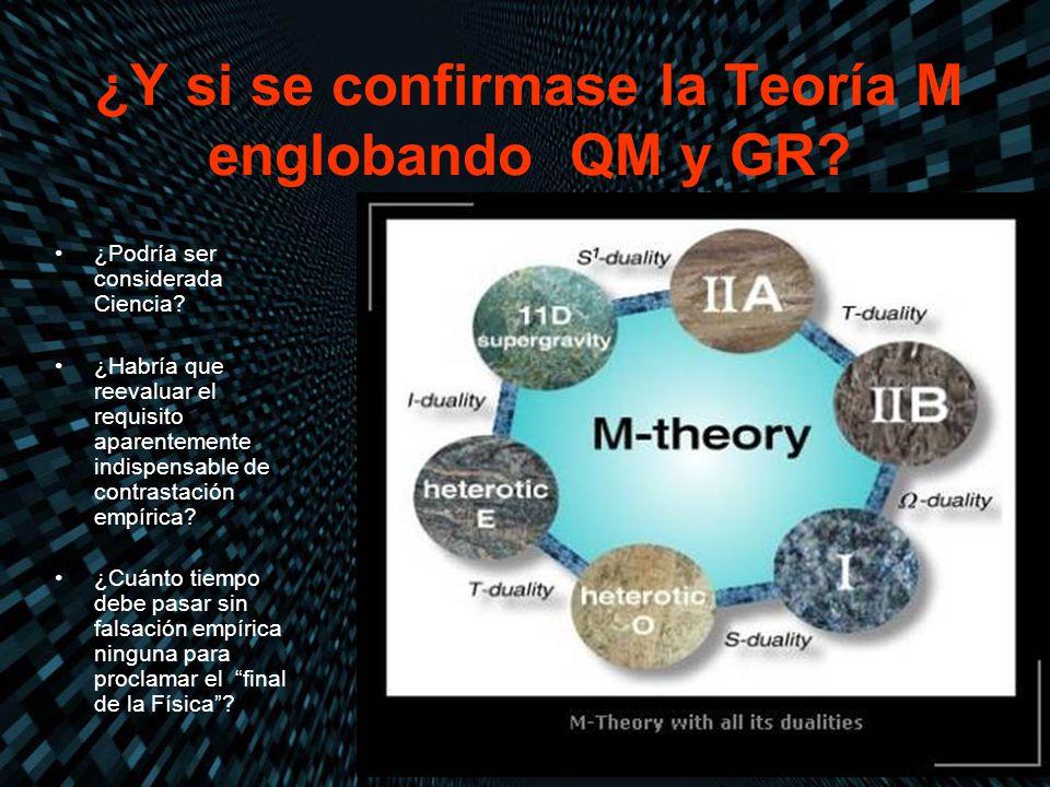 ¿Y si se confirmase la Teoría M englobando QM y GR? ¿Podría ser considerada Ciencia? ¿Habría que reevaluar el requisito aparentemente indispensable de