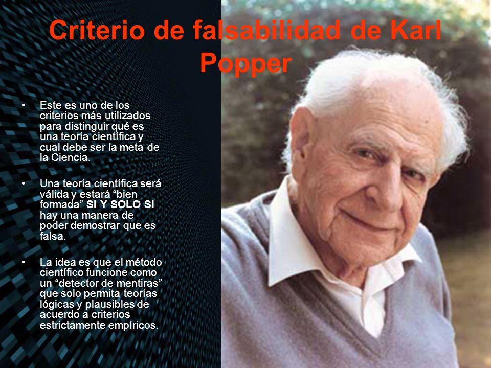 Criterio de falsabilidad de Karl Popper Este es uno de los criterios más utilizados para distinguir qué es una teoría científica y cual debe ser la me