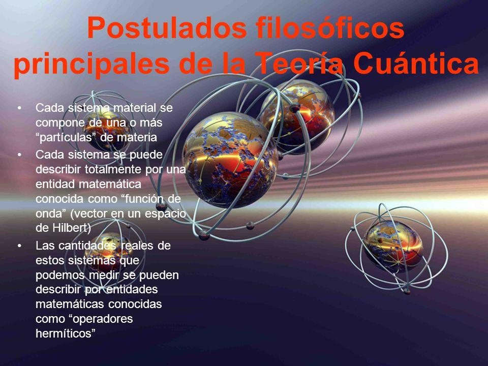 Postulados filosóficos principales de la Teoría Cuántica Cada sistema material se compone de una o más partículas de materia Cada sistema se puede des