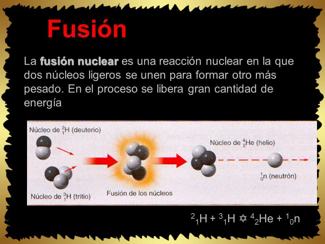 Fusión fusión nuclear La fusión nuclear es una reacción nuclear en la que dos núcleos ligeros se unen para formar otro más pesado.