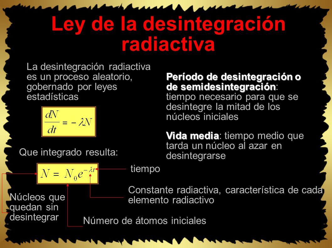 Ley de la desintegración radiactiva La desintegración radiactiva es un proceso aleatorio, gobernado por leyes estadísticas Período de desintegración o de semidesintegración Período de desintegración o de semidesintegración: tiempo necesario para que se desintegre la mitad de los núcleos iniciales Vida media Vida media: tiempo medio que tarda un núcleo al azar en desintegrarse Que integrado resulta: Constante radiactiva, característica de cada elemento radiactivo Número de átomos iniciales Núcleos que quedan sin desintegrar tiempo