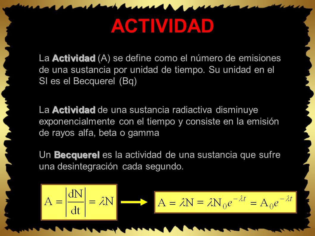 ACTIVIDAD Actividad La Actividad de una sustancia radiactiva disminuye exponencialmente con el tiempo y consiste en la emisión de rayos alfa, beta o gamma Actividad La Actividad (A) se define como el número de emisiones de una sustancia por unidad de tiempo.