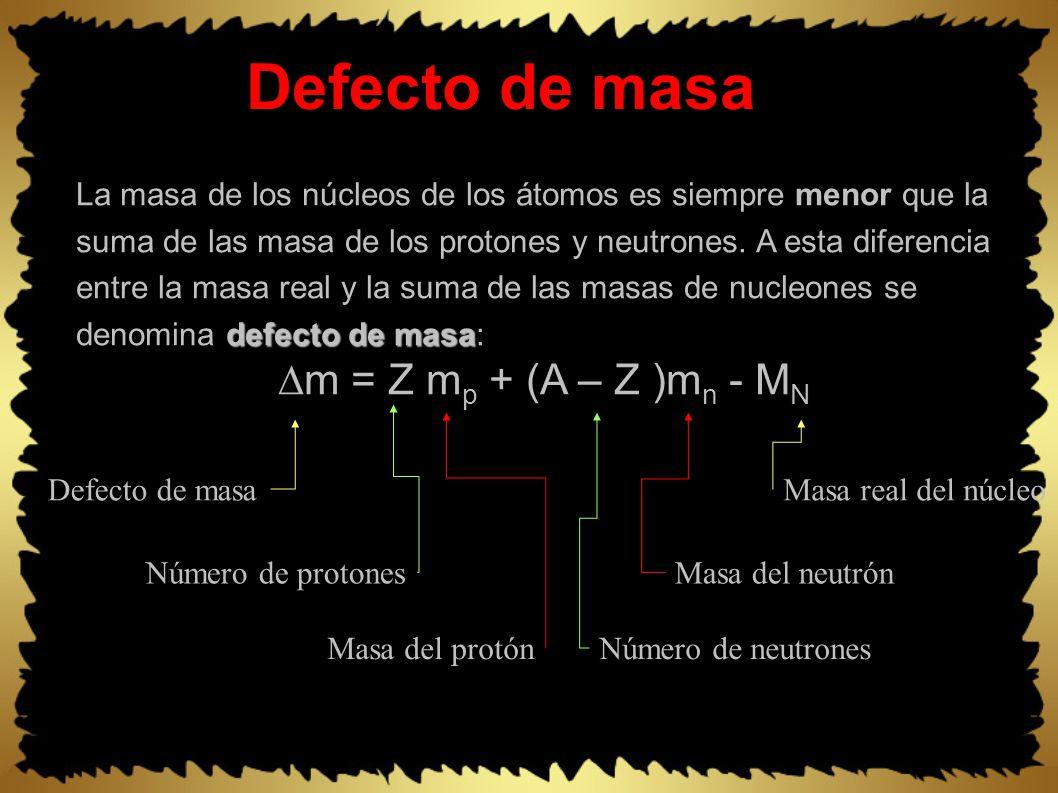 Defecto de masa defecto de masa La masa de los núcleos de los átomos es siempre menor que la suma de las masa de los protones y neutrones.