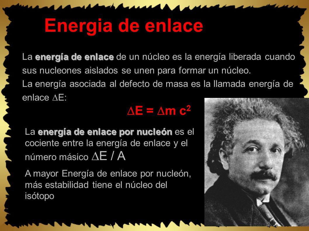 Energia de enlace energía de enlace La energía de enlace de un núcleo es la energía liberada cuando sus nucleones aislados se unen para formar un núcleo.