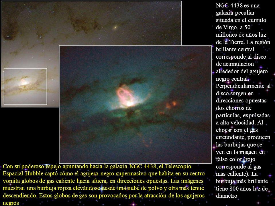 NGC 4438 es una galaxia peculiar situada en el cúmulo de Virgo, a 50 millones de años luz de la Tierra. La región brillante central corresponde al dis