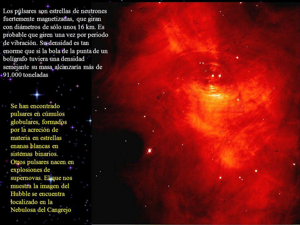 Los púlsares son estrellas de neutrones fuertemente magnetizadas, que giran con diámetros de sólo unos 16 km. Es probable que giren una vez por period