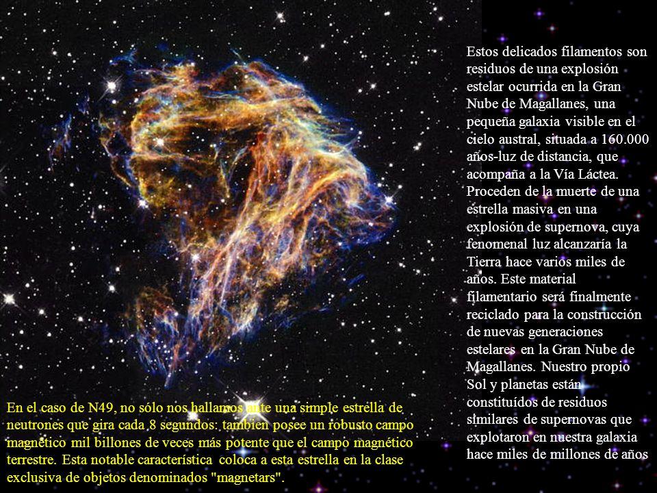 Estos delicados filamentos son residuos de una explosión estelar ocurrida en la Gran Nube de Magallanes, una pequeña galaxia visible en el cielo austr
