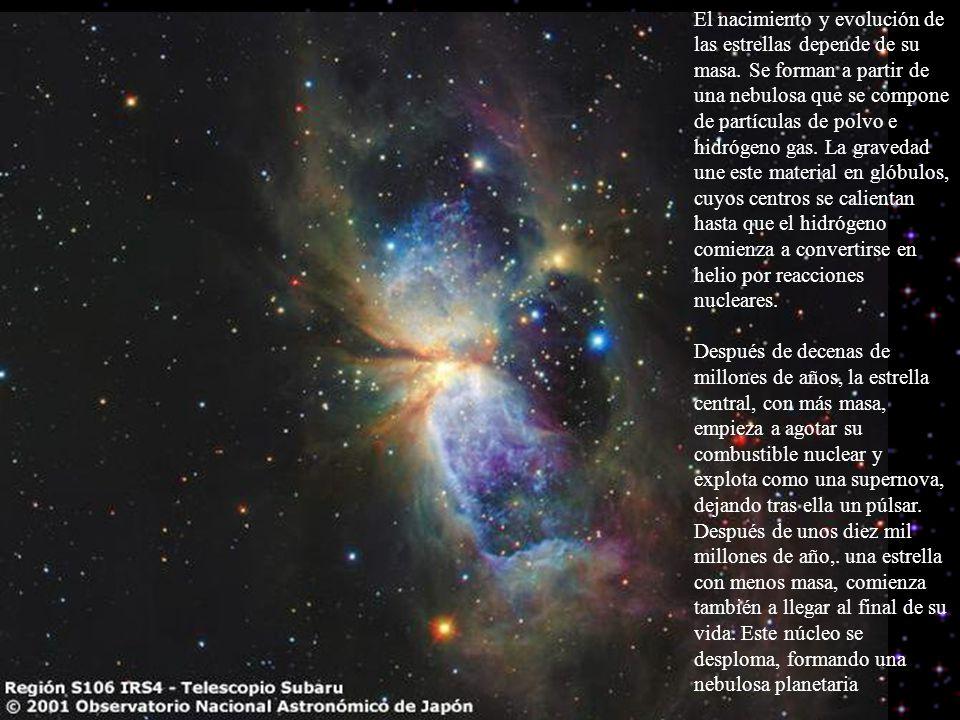 El nacimiento y evolución de las estrellas depende de su masa. Se forman a partir de una nebulosa que se compone de partículas de polvo e hidrógeno ga