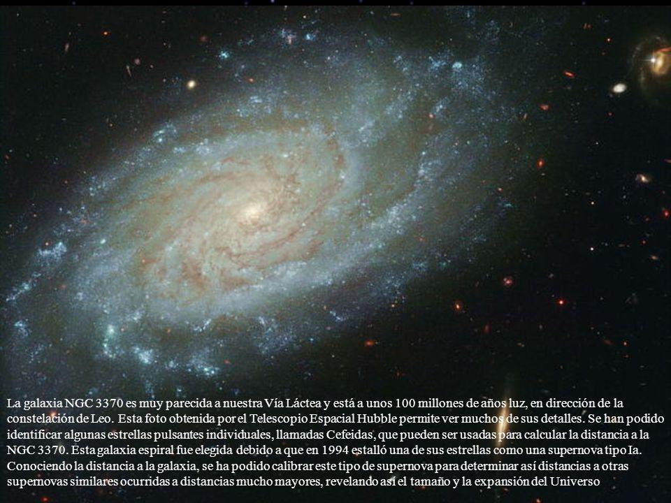 La galaxia NGC 3370 es muy parecida a nuestra Vía Láctea y está a unos 100 millones de años luz, en dirección de la constelación de Leo. Esta foto obt